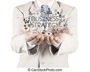 hombre de negocios, mano, trabajando, con, nuevo, moderno, computadora, showhand, dibujado, estrategia de la corporación mercantil, como, concepto