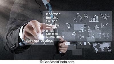 hombre de negocios, mano, trabajando, con, nuevo, moderno, computadora, y, estrategia de la corporación mercantil, como, concepto