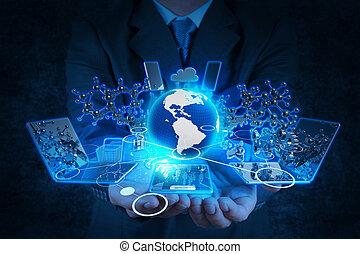 hombre de negocios, mano, trabajando, con, tecnología...