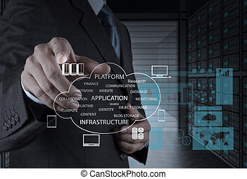 hombre de negocios, mano, trabajando, con, un, nube, informática, diagrama, en, el, computadora nueva, interfaz, como, concepto