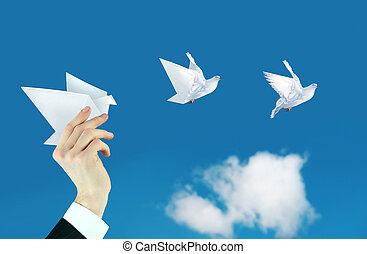 hombre de negocios, mano, y, papel, paloma, collage