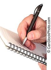 hombre de negocios, manos, con, pluma y, espiral, bloc, primer plano, aislado