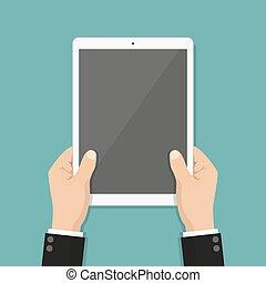 hombre de negocios, manos, tenencia, tableta, con, pantalla en blanco, en, un, plano, diseño