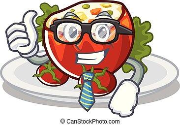 hombre de negocios, mascota, aislado, llenó tomates