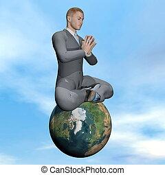 hombre de negocios, meditación, -, 3d, render