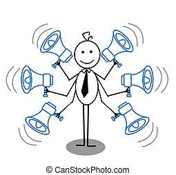 hombre de negocios, megáfono