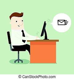hombre de negocios, mensaje, enviar