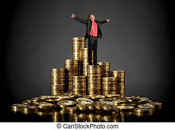 hombre de negocios, moneda, oro