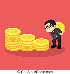 hombre de negocios, moneda, trabajando