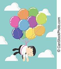 hombre de negocios, mosca, en, globos, nubes, con, hermoso, cielo azul