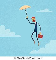 hombre de negocios, mosca, paraguas, asimiento, maletín