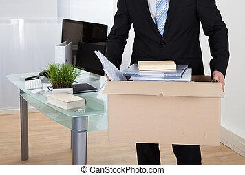 hombre de negocios, mudanza, oficinas