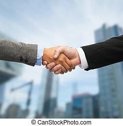 hombre de negocios, mujer de negocios, sacudarir las manos