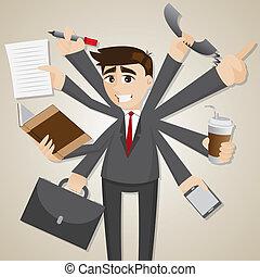 hombre de negocios, multi, caricatura, tasking