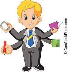 hombre de negocios, multi, habilidad, tasking