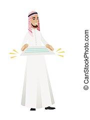 hombre de negocios, musulmán, contract., tenencia
