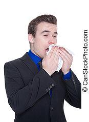 hombre de negocios, nariz líquida