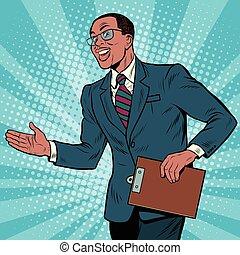 hombre de negocios, norteamericano, amistoso, africano