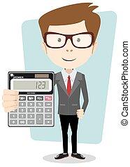 hombre de negocios, o, contador, con, un, calculadora,...