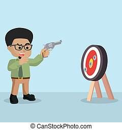 hombre de negocios, objetivo que dispara