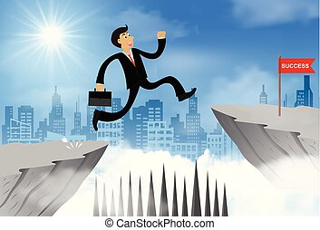 hombre de negocios, obstáculo, ir, problema, goal., abismo, obstacles., desafío, leadership., venza, idea., contrario, vector, acantilado, encima, success., o, ilustración, salto, creativo, empresa / negocio