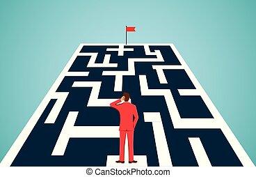 hombre de negocios, obstáculos, goal., bloqueo, hacia, ...