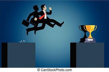 hombre de negocios, obstáculos, ir, caricatura, vector, riesgo, o, problema, goal., desafío, venza, salto, encima, success., empresa / negocio, abismo, illustration., obstacles.