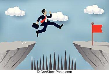 hombre de negocios, obstáculos, ir, problema, desafío, abismo, obstacles., saltar, caricatura, venza, empresa / negocio, contrario, concept., vector, encima, success., meta, riesgo, o, illustration.