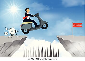 hombre de negocios, obstáculos, ir, problema, goal., abismo, obstacles., saltar, desafío, leadership., venza, empresa / negocio, equitación, idea., contrario, vector, encima, success., moto, ilustración, creativo, o