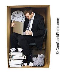 hombre de negocios, oficina, apretado