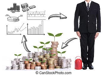 hombre de negocios, párese, y, espera, después, acabado, a, uso, rojo, regar, olla, con, concpet, inversión, para, futuro