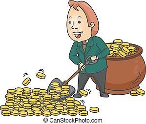 hombre de negocios, pala, monedas de oro, hombre