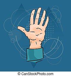 hombre de negocios, palma, mano, cinco, dedos