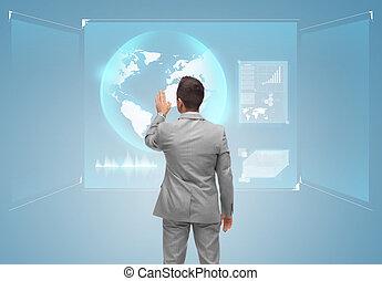 hombre de negocios, pantalla, conmovedor, globo, virtual