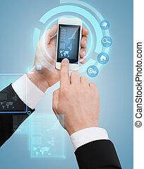 hombre de negocios, pantalla, conmovedor, smartphone
