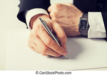 hombre de negocios, papel, algo, escritura