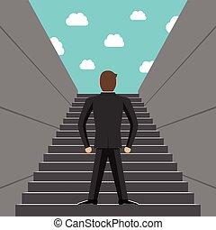 hombre de negocios, pasos, ambicioso, montañismo