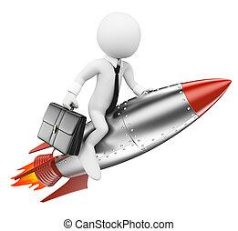 hombre de negocios, personas., 3d, cohete, blanco