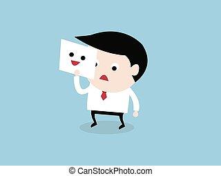 hombre de negocios, piel, el suyo, cansado, cara, por, tenencia, sonrisa, máscara, vector