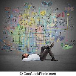 hombre de negocios, piensa, sobre, un, nuevo, proyecto