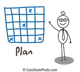 hombre de negocios, plan