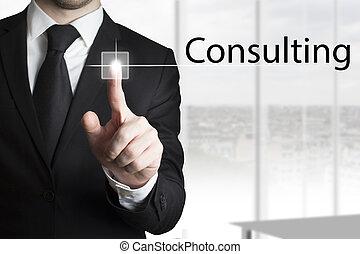 hombre de negocios, planchado, touchscreen, botón, el consultar