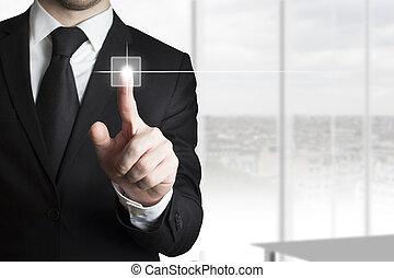 hombre de negocios, planchado, touchscreen, botón, oficina