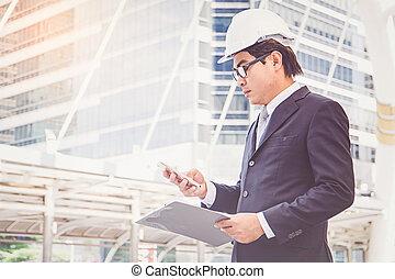 hombre de negocios, planificación, construcción, proyecto