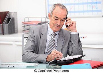 hombre de negocios, planificación, un, cita