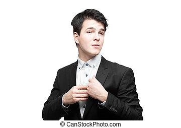hombre de negocios, poniendo, dinero, en, bolsillo