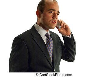 hombre de negocios, por teléfono, aislado, encima, un, blanco, fondo.