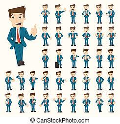 hombre de negocios, posturas, conjunto, caracteres