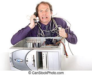 hombre de negocios, problemas de la computadora