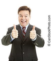 hombre de negocios, pulgares, entusiasmado, arriba, dos